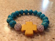 Turquoise beaded bracelet with rhinestone by ShellyBrennanDesigns, $18.00