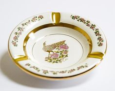 #vintage #etsy PEACOCK Beautiful 24K Gold Plated Ceramic Porcelain Ashtray Ceramic China Porcelain Greece Pottery Design Pheasant by VintUK