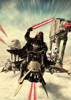 Darth Vader - Speeder Bike Attack by *rhymesyndicate on deviantART.