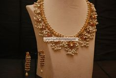 Gutta pusalu Necklace with pearls paired with trendy Earrings | Latest Indian Jewellery Designs