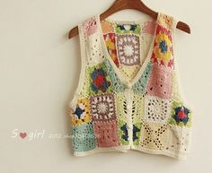 : crochet vests mix of colors and shapes Gilet Crochet, Crochet Jacket, Crochet Cardigan, Crochet Granny, Free Crochet, Knit Crochet, Crochet Vests, Hippie Crochet, Crochet Fashion