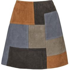 Mih Patchwork Mini Skirt ($610) ❤ liked on Polyvore featuring skirts, mini skirts, bottoms, multi, panel skirt, short brown skirt, short skirts, patchwork skirt and a line mini skirt