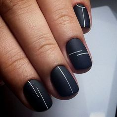 Looking for easy nail art ideas for short nails? Look no further — here are ar… Looking for easy nail art ideas for short nails? Look no further — here are are 20 quick and easy nail art ideas for short nails. Cute Nail Art Designs, Line Nail Designs, Short Nail Designs, Simple Nail Designs, Short Nails Art, Black Nails Short, Black And Nude Nails, Black And White Nail Art, Ideas For Short Nails