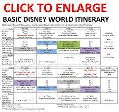 Using A Disney Planning Chart Walt Disney World Hints Brilliant