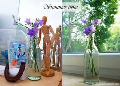 Summer time - it´s official. Simple summer flower arrangements by Garden & Decoration. Summer Flower Arrangements, Summer Flowers, Wild Flowers, Some Ideas, Get Outside, Summer Time, Glass Vase, Bloom, Decoration