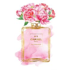Chanel No5 Printed fashion poster watercolor pink Peony print 24x36... ($35) ❤ liked on Polyvore featuring home, home decor, wall art, pink wall art, chanel, gold home decor, gold home accessories and pink flamingo wall art