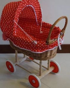 #Wicker #basket wooden frame dolls pram #pushchair with bedding kids toy gift gir,  View more on the LINK: http://www.zeppy.io/product/gb/2/252245124163/