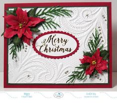 Hi Crafty Friends, Today I am sharing a Christmas card I created using Susan's Garden Garden Notes Poinsettia die sets. Die Cut Christmas Cards, Christmas Card Crafts, 3d Christmas, Homemade Christmas Cards, Christmas Poinsettia, Christmas Greeting Cards, Christmas Greetings, Greeting Cards Handmade, Homemade Cards
