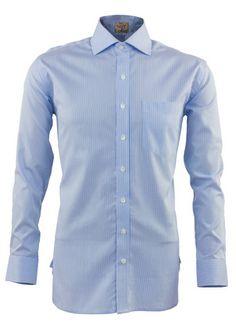 Azure Blue Thin Stripes Full Sleeves