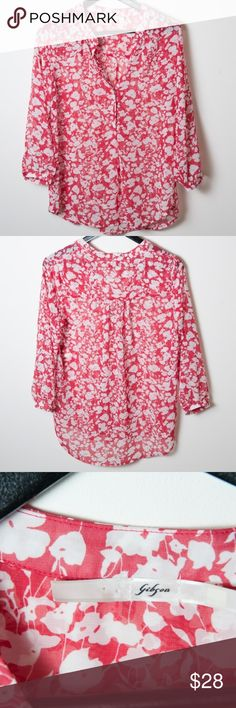 Gibson Nordstrom Red White Floral Blouse Small Sheer lightweight Gibson blouse from Nordstrom. Red with white floral print. Size small. Good preloved condition. No noticeable holes, rips, stains or marks. Gibson Tops Blouses