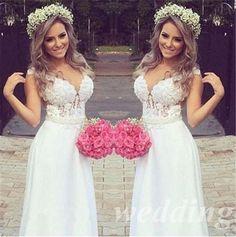 MZYDH26 2016 Nova Sexy Decote Em V Branco/Marfim Casamento Do Laço Vestido de Noiva Vestido de noiva Tamanho 4 6 8 10 12 14 16 18 +