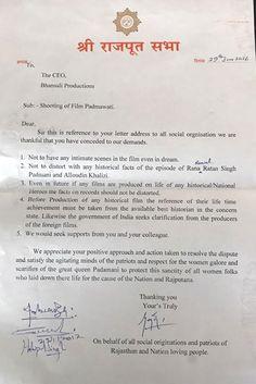 'Padmavati' row: Sanjay Leela Bhansali arrives at a written agreement with Karni Sena and Rajput Sabha - Times of India ► Letter Addressing, Sanjay Leela Bhansali, Times Of India, The Row, Thankful, Entertainment, Lettering, Film, Movie