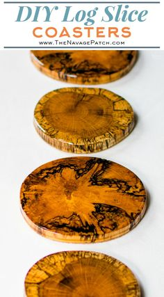 DIY wood coasters are fun to make and make a great addition to any home bar. Learn how to make there beautiful and durable log slice coasters with wood you may have in your back yard! Bonus: a hack to keep the coaster from sticking to a wet glass! Resin Crafts, Resin Art, Wood Crafts, Wooden Coasters Diy, Wooden Diy, Diy Resin Coasters, Wood Wedding Decorations, How To Make Coasters, Log Home Decorating