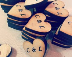 Houten hart magneten Set van 50 Wedding Favors door craftupyourlife