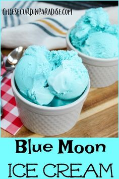 Blue Moon Ice Cream is a staple in Midwest. Distinctive blue coloring and one of… Blue Moon Ice Cream is a staple in Midwest. Distinctive blue coloring and one of the most mystifying flavors around making people ask, what is that flavor? No Churn Ice Cream, Ice Cream Maker, Almond Joy, Ice Cream Desserts, Frozen Desserts, Frozen Treats, Blue Desserts, Chocolate Ice Cream, Vanilla Ice Cream