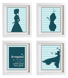 Disney Frozen Wall Art with Quote -find a silhouette that you like and cut it out on dark paper, then place over chevron paper and frame