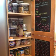 My newly organized pantry! Used chalkboard vinyl on inside of cabinets - great for lists, menus, etc. Chalkboard labels on canisters are all removable and erasable. Liquid chalk markers add color and are smudge proof! Pantry Organization, Organized Pantry, Chalkboard Vinyl, Liquid Chalk Markers, Activities For Kids, Household, Woodworking, Decorating Ideas, Craft Ideas