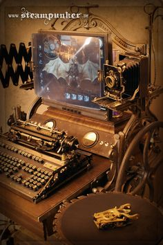 fully functional steampunk workstation... with keyboard, mouse, screen, plasma…