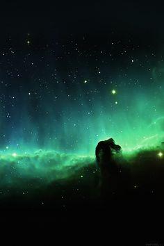 FreeiOS7 - mj11-horse-head-blue-nebula-sky-space-stars - http://bit.ly/1LGIxUy - freeios7.com
