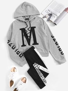 To find out about the Drawstring Letter Hoodie & Sweat Pants Set at SHEIN, part of our latest Two-piece Outfits ready to shop online today! Lazy Outfits, Cute Comfy Outfits, Teenage Outfits, Cute Girl Outfits, Outfits For Teens, Stylish Outfits, Girls Fashion Clothes, Teen Fashion Outfits, Ideias Fashion