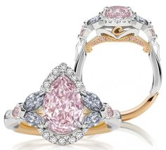 'TSARINA' FANCY INTENSE PINK & DIAMOND RING | c.2014 | Calleija Diamonds, Australia | 2.15ct carre-cut fancy intense purplish-pink diamond, 4 marquise-cut blue diamonds (from 2012 Argyle Tender), 12 round white diamonds, 2 round fancy intense purplish-pink diamonds, 16 small round pink diamonds, platinum & 18k rose gold mount | fancy intense purplish-pink diamond framed by 4 very rare blue diamonds & round white diamonds w/pink diamond shoulders & under-gallery |