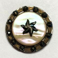 Antique Button ~ Pretty 19th Century Iridescent Pearl On Steel w Brass Border Buttons For Sale, Iridescent, 19th Century, Brass, Brooch, Steel, Pearls, Antiques, Pretty