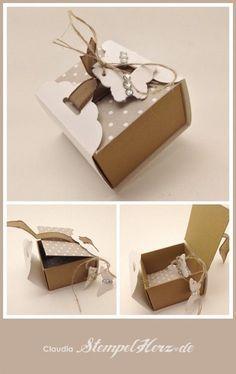 Stampin Up - Stempelherz - Pralinenschachtel - Verpackung - Box - Schmetterlingsstanze - Stanze Gewellter Anhänger - Pralinenverpackung Schmetterling Collage: