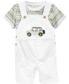 First Impressions Baby Boys' 2-Piece Safari T-Shirt & Shortall Set, Only at Macy's