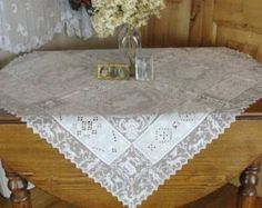 Antique Figural Angels Animals Filet Embroidered Lace Tablecloth | eBay VINTAGEBLESSINGS