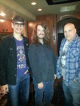 Steve Vai, Seth Blevins and Steve Blevins on the tour bus Knoxville