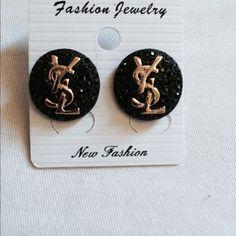 Black earrings Bling black stud earrings with gold YSL Accessories