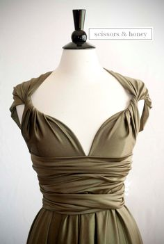 Convertible Dress, Infinity Dress in Olive Green Size Medium/Large, Ready to Ship. $88.00, via Etsy.