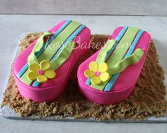 "Flip Flops Cake and Cookies - The cakes were baked in 11x7 pans (3"" deep)."
