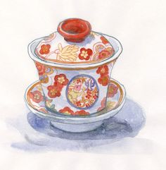 """Cinese Tea Cup / 蓋碗 Illustrated by Mitsuko Onodera From : """"Mitsuko's Hong Kong Illustration"""" (watercolors, colored pencils)"""