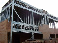 steel structure P A R Drywall, Steel Framing, Steel Frame House, Metal Structure, Diy Frame, Terrazzo, Exterior Design, Sweet Home, Stairs