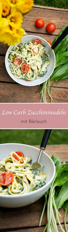 Low Carb Zucchini noodles with wild garlic - Rezepte - - Raw Food Recipes - Raw Food Recipes, Low Carb Recipes, Vegetarian Recipes, Healthy Recipes, Vegan Food, Zoodle Recipes, Pasta Recipes, Zucchini Noodles, Garlic Noodles