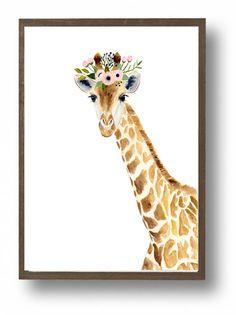Watercolor giraffe, Woodland nursery, Animal Paintings, Fox, Bear, Deer, fawn, watercolor animal, giraffe, kids posters, nursery flag