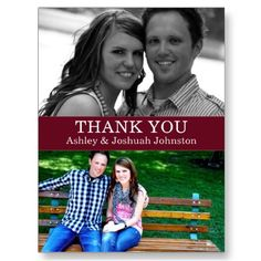 Double Photo Thank You #Wedding Post Cards
