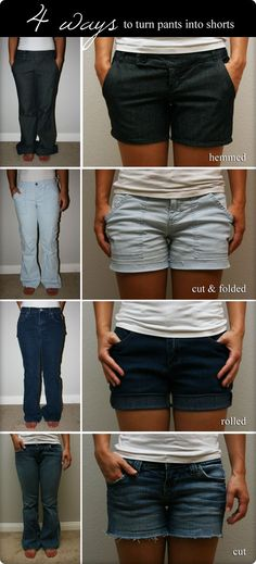 4 Options for Pants to Shorts Transformation. . I have a pair of old jeans i want to change to shorts this year!