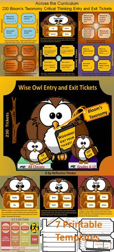 Bloom's Taxonomy critical thinking entry and exit ticket choices for Grades across the curriculum This is a hoot! Teaching Critical Thinking, Higher Order Thinking, Exit Tickets, 21st Century Skills, Blooms Taxonomy, Differentiated Instruction, Formative Assessment, Learning Styles, Teacher Resources