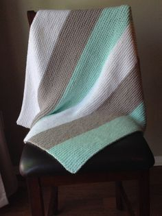 Hand knit mint green, gray, and white baby blanket, easy to wash and dry hand knitted striped baby blanket by Michellesknitknacks on Etsy