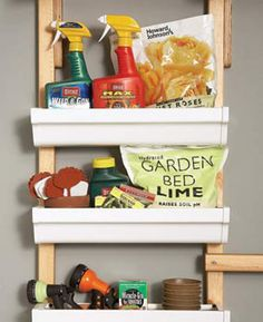 Vinyl Gutters Storage for the Garage. Another good garage storage solution! Diy Garage Storage Systems, Garage Organization Tips, Shed Storage, Storage Bins, Storage Ideas, Shelving Ideas, Easy Storage, Small Storage, Tool Storage