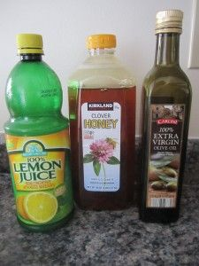 Homemade Honey Lemon Cough Syrup: 1 cup lemon juice 1/2 cup extra-virgin olive oil 1 1/2 cups honey  I whisked it together, and heated it until it was steaming, but not boiling. I transferred the warm syrup to a clean mason jar, and gave my children one tablespoon every hour.