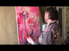 FREE! Oil painting flowers with a palette knifet. Iris. Full video tutorial from Saharov - YouTube