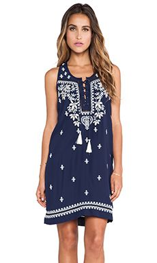 Greylin Marcia Embroidered Lace Up Dress in Navy