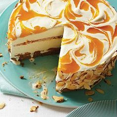 Apricot Almond Swirl Ice Cream Pie.