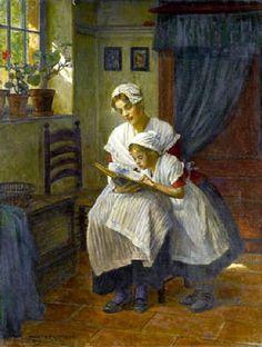 Das Vorlesen by Walter Firle (1859-1929).