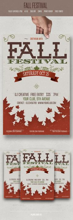 Buy Fall Festival by creativeartx on GraphicRiver. Fall Festival flyer template Fully layered PSD Fully editable bleed) CMYK Print Ready Free fonts use. Event Flyer Templates, Flyer Design Templates, Print Templates, Festival Flyer, Festival Posters, Seasonal Image, Halloween Flyer, Christmas Flyer, Fall Fest