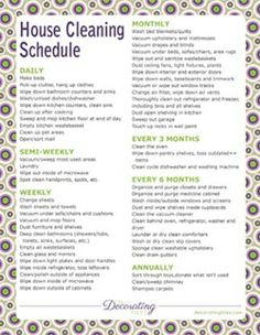 Printable House Cleaning Schedule, chore charts and planners, grocery list, budget sheets
