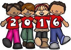 Freebie ~ #HappyNewYear Kids 2016 from Educlips blog! Line art too! #ThankYou